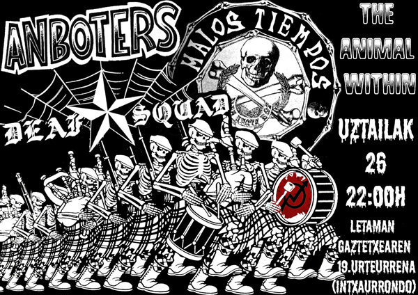 26 JUL, ANBOTERS, MALOS TIENPOS, DEAF SQUAD, THE ANIMAL WITHING