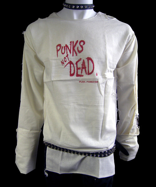 CAMISETA BONDAGE BLANCA PUNKS NOT DEAD