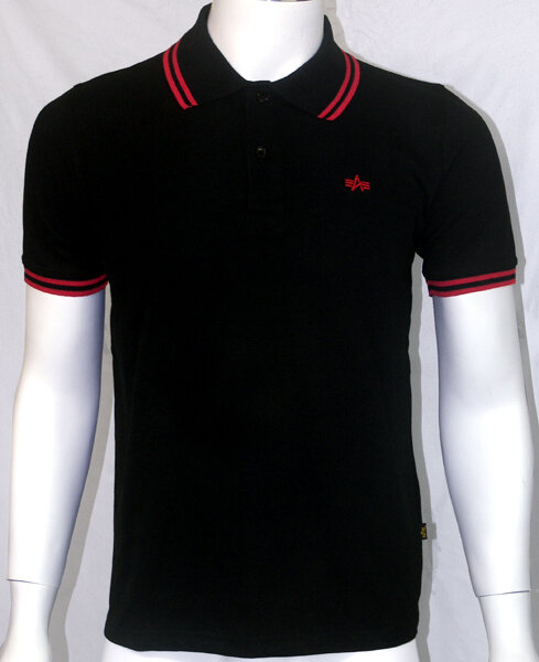 POLO ALPHA INDUSTRIES NEGRO-ROJO