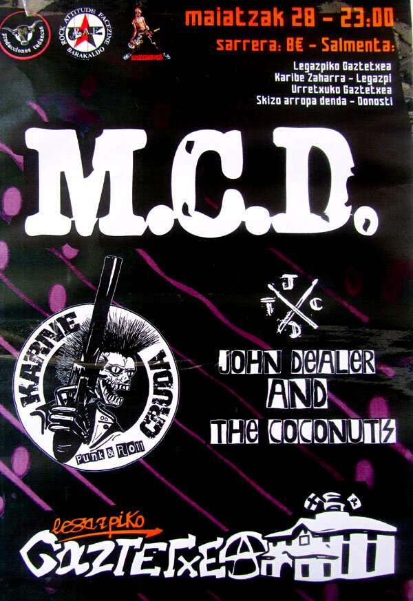 28 mayo MDC, KARNE CRUDA, JHON DEALERD AND THE COCONUTS