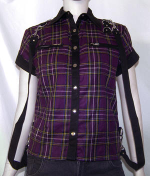 CAMISA ESCOCES MORADO CON CORREAS